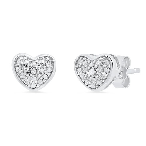Sterling Silver Heart Earrings With Diamond Accent