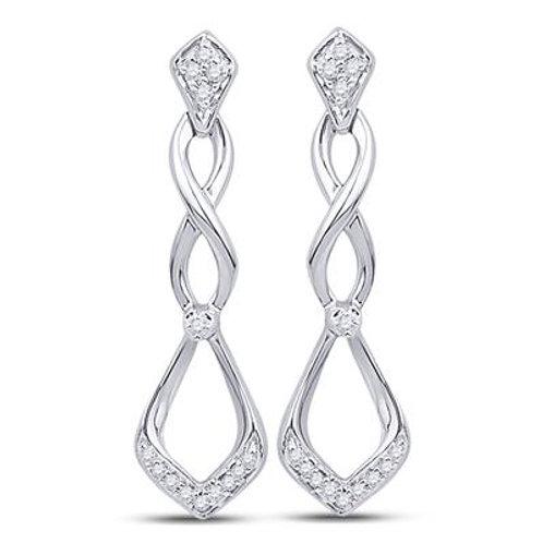10k White Gold Diamond Cascading Teardrop Earrings