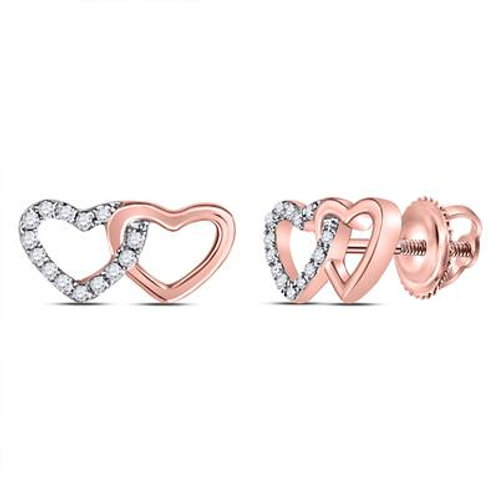 10k Rose Gold Double Heart Diamond Stud Earrings