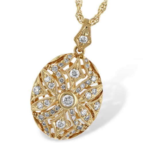 14k Yellow Gold Oval Pendant with 0.40ct Diamonds