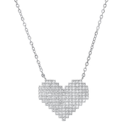 Sterling Silver & Cubic Zirconia Heart Necklace