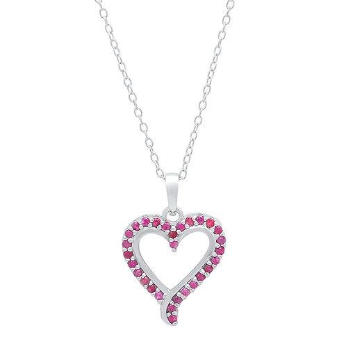 Sterling Silver Ruby Open Heart Necklace