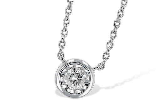 14kt White Gold Round Diamond Solitaire Necklace