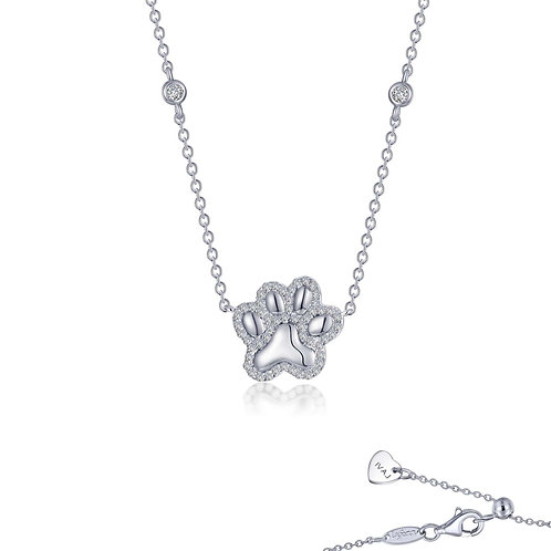 Sterling Silver Puffy Paw Necklace