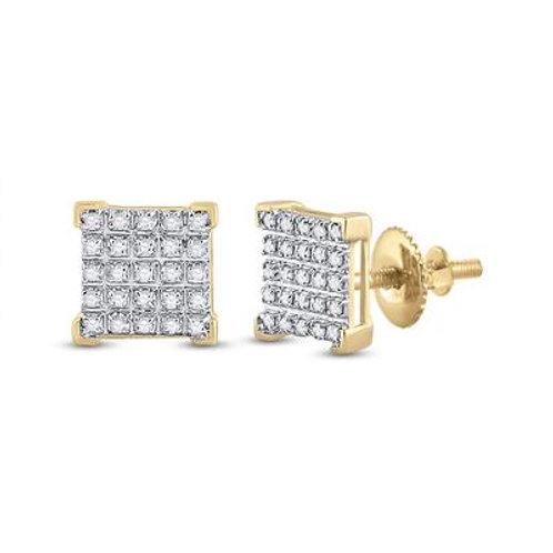 10k Yellow Gold Round Diamonds Square Earrings