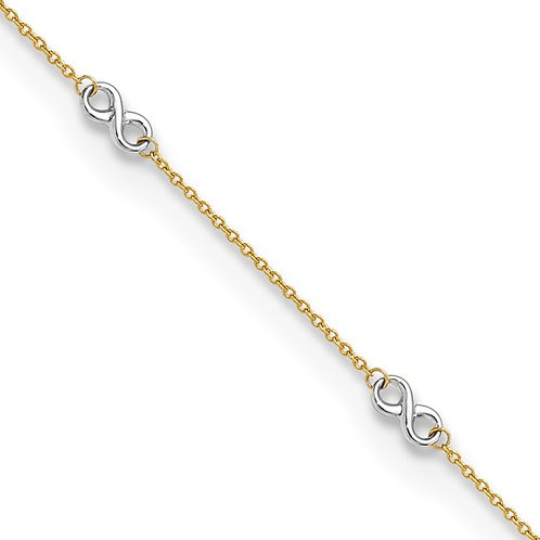 14kt Two-Tone Gold Adjustable Infinity Anklet