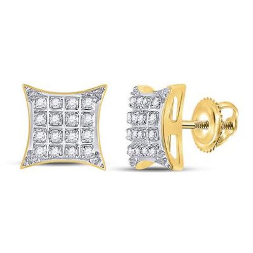 10k Yellow Gold Diamond Square Kite Stud Earrings
