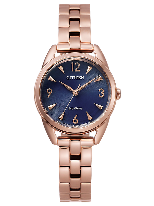 Drive : Citizen Eco-Drive Ladies Rose Tone Solar Watch With Blue Dial