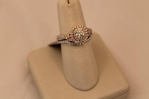 14kt White & Rose Gold Cluster Diamond Engagement Ring