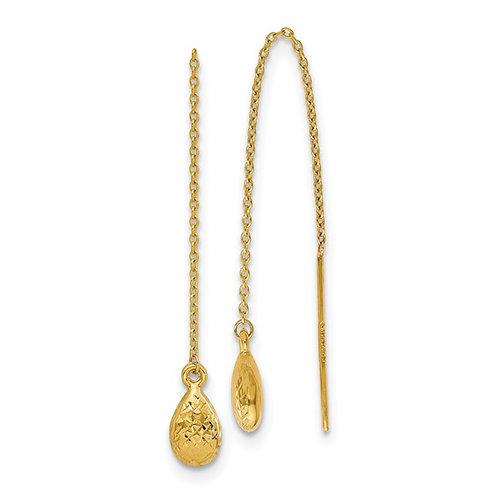 14kt Yellow Gold Textured Tear Drop Threader Earrings