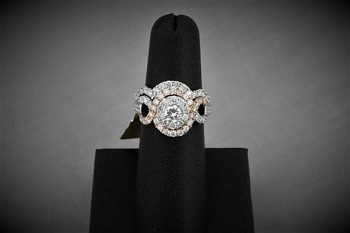 14k White Gold & Rose Gold Round Diamond Wedding Set