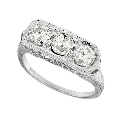 14kt White Gold Antique Filigree Style 3 Diamond Ring