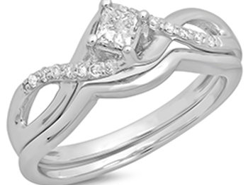 10k White Gold Wedding Set With Kite Set Princess Cut Center Diamond
