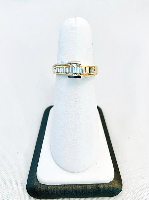 14k Two-Tone Gold 1ct. Emerald Cut Engagment Ring