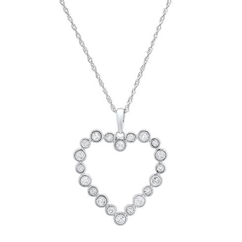 10k White Gold Bezel Set Round Diamond Open Heart Necklace