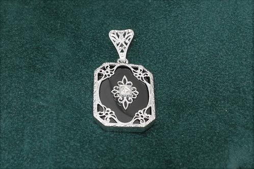 14k White Gold Onyx & Diamond Pendant