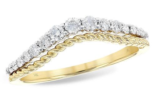 14kt Yellow Gold & Diamond Curved Wedding Band