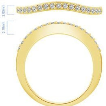 14k Yellow Gold 0.17ct Curved Diamond Band
