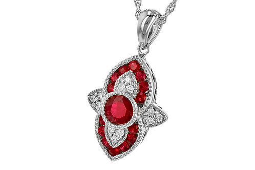 14kt White Gold Vintage Style Ruby & Diamond Necklace
