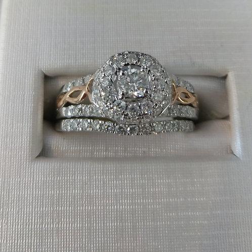 1.00ctw Diamond Engagement Ring 2 Piece Set 14k White & Rose Gold