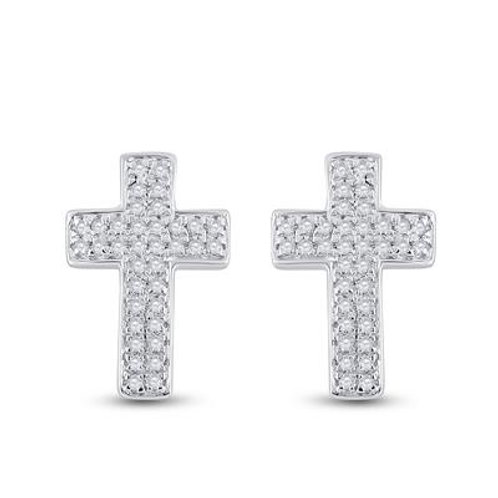 10k White Gold 0.20ct Diamond Cross Earrings