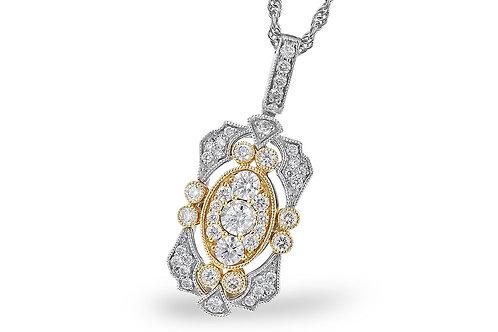 14k Two-Tone Yellow & White Gold 0.50ct Diamond Pendant