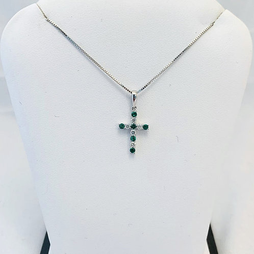 10k White Gold Emerald and Diamond Cross Necklace