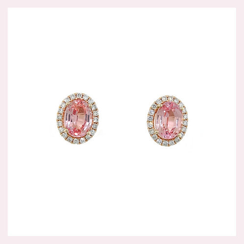 10kt Rose Gold Morganite Stud Earrings With Diamond Halo