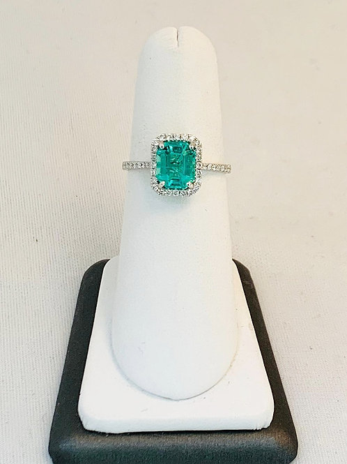 14k White Gold Ring Columbian Emerald with Diamond Halo
