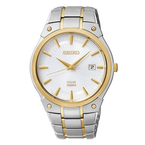 Seiko Solar Powered Gold Trim Watch 100m Water Resistant