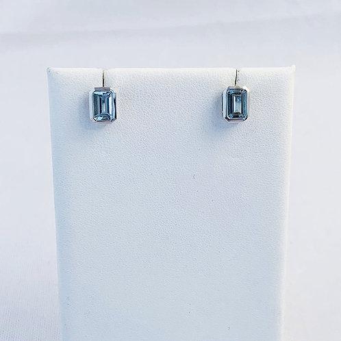 10k White Gold 0.85ct Aquamarine Earrings
