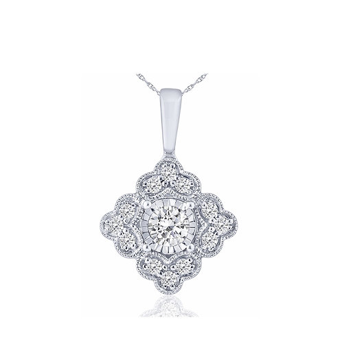 10k White Gold 0.25ct Diamond Vintage Style Pendant