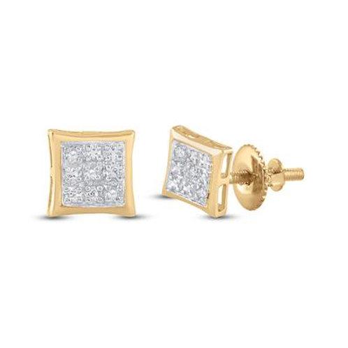 10k Yellow Gold Diamond Square Stud Earrings