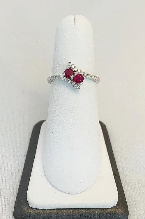 14k White Gold Double Ruby & Diamond Ring