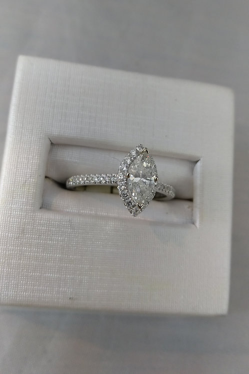 Marquise Cut .77ctw Accented Halo Diamond Engagement Ring