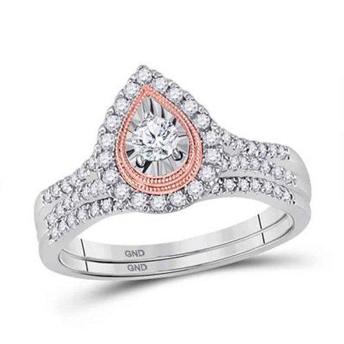 10k Two-Tone Gold Diamond Wedding Ring Set