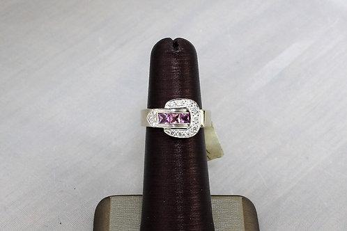 14k White Gold Pink Sapphire & Diamond Ring