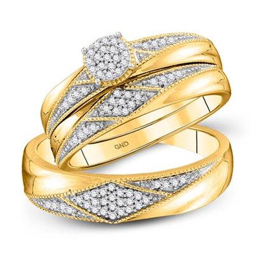 10kt Yellow Gold Trio Wedding Set With Diamonds
