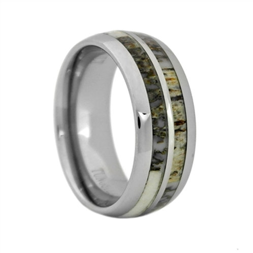 Men's Tungsten Carbide Wedding Band with Antler Inlay