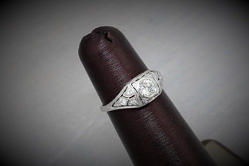 18k White Gold 0.25ct Miners Cut Vintage Diamond Ring