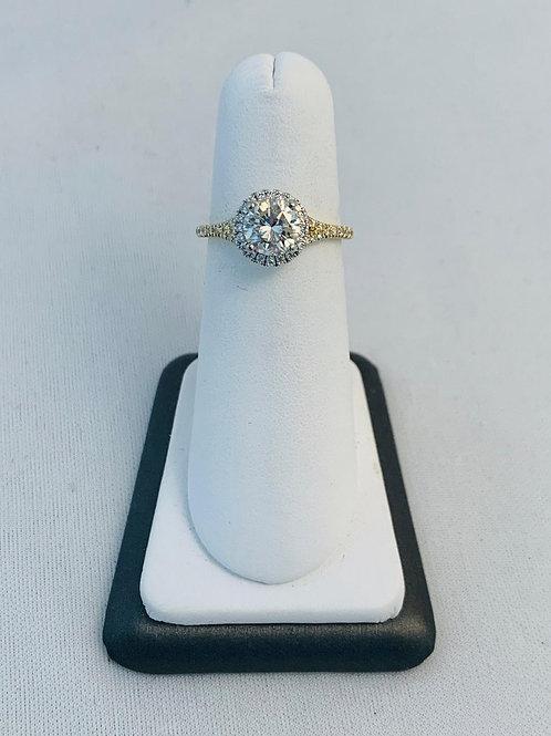 14k Yellow and White Gold 1.34ct Round Diamond Engagement Ring