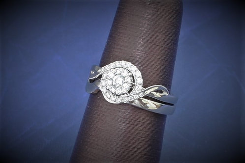 14k White Gold & Cluster Diamond Wedding Set