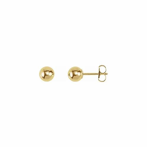 14k Yellow Gold Ball Stud Earrings 5mm