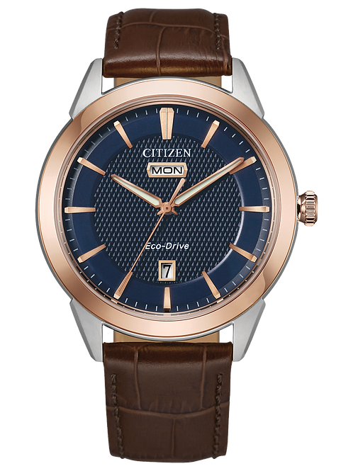 Corso Men's Eco-Drive Solar Watch With Leather Band
