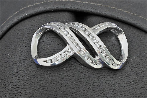 14k White Gold 1.5ct Diamond Necklace Slide