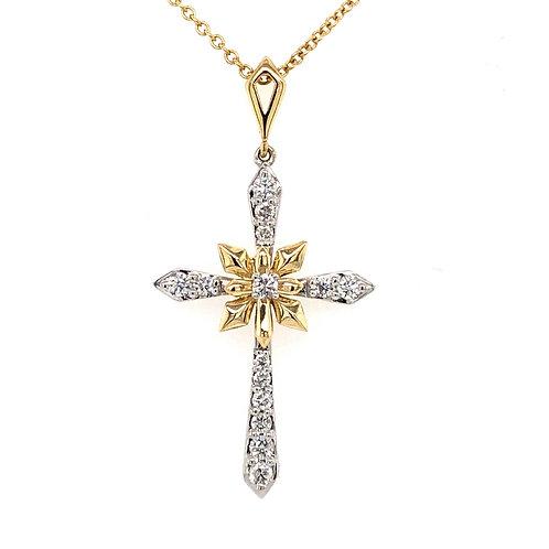14k Two-Tone Yellow & White Gold Diamond Cross Pendant