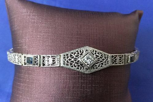 Vintage Style 14k White Gold with Diamond & Sapphire Bracelet