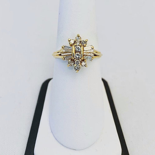 14k Yellow Gold 1.0ct Cluster Ring with Baguette and Round Diamonds