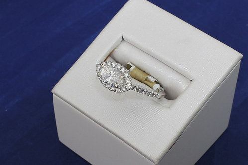 14k White Gold Sideways Marquise Diamond Engagement Ring