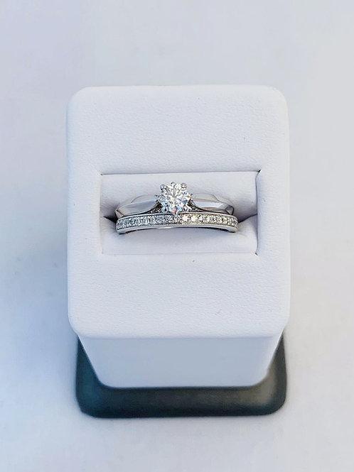 14k White Gold 0.61ct Round Cut Diamond Wedding Set